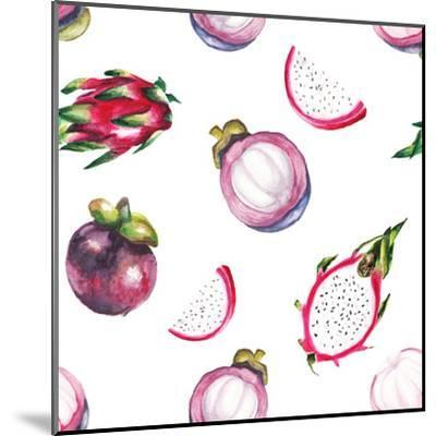 Watercolor Dragon Fruit and Mangosteen Pattern-lenavetka87-Mounted Art Print