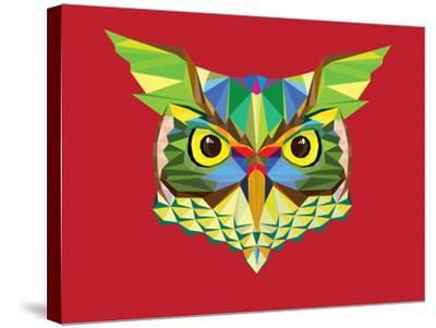 Owl Head in Geometric Pattern-happysunstock-Stretched Canvas Print