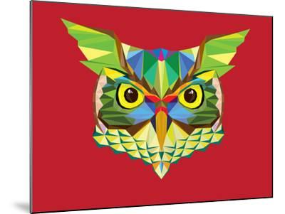 Owl Head in Geometric Pattern-happysunstock-Mounted Art Print