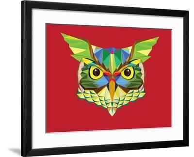 Owl Head in Geometric Pattern-happysunstock-Framed Art Print