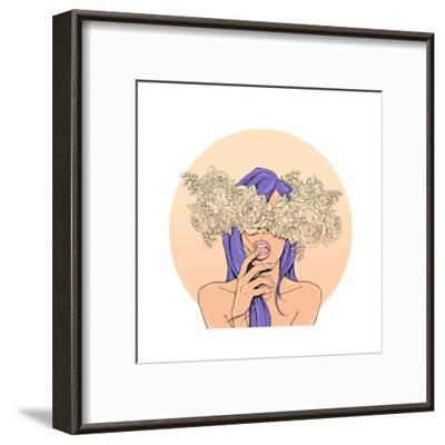 Girl with a Wreath of Flowers on the Head.-MargaritaSh-Framed Art Print