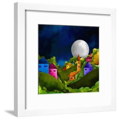 Country Hill at Night-goccedicolore-Framed Art Print