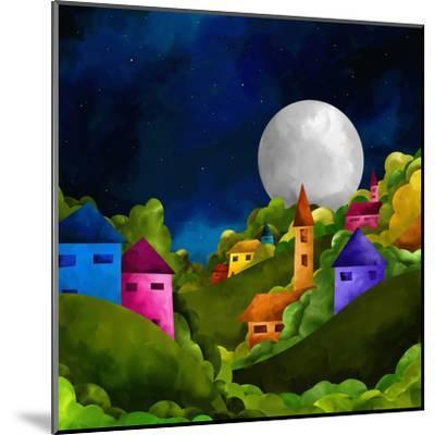 Country Hill at Night-goccedicolore-Mounted Art Print