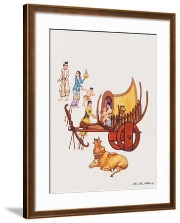 Family with their Ox-Cart, 1993-Yoe Yar Maung-Framed Giclee Print