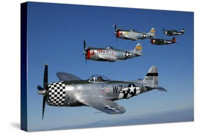 Formation of P-47 Thunderbolts Flying over Chino, California-Stocktrek Images-Stretched Canvas Print