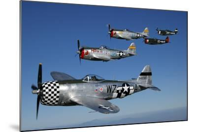 Formation of P-47 Thunderbolts Flying over Chino, California-Stocktrek Images-Mounted Photographic Print