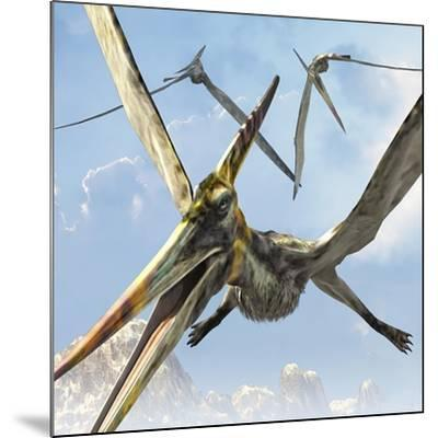 Flying Pterodactyls Searching for Food-Stocktrek Images-Mounted Art Print