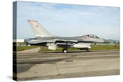 F-16A Mlu Falcon from the Royal Danish Air Force Taxiing at Grosseto Air Base-Stocktrek Images-Stretched Canvas Print
