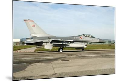 F-16A Mlu Falcon from the Royal Danish Air Force Taxiing at Grosseto Air Base-Stocktrek Images-Mounted Photographic Print