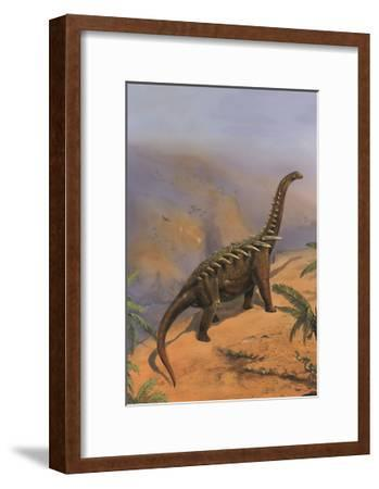 Agustinia Dinosaur Walking Along the Edge of a Cliff-Stocktrek Images-Framed Art Print