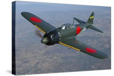 A6M Japaneese Zero Flying over Chino, California-Stocktrek Images-Stretched Canvas Print