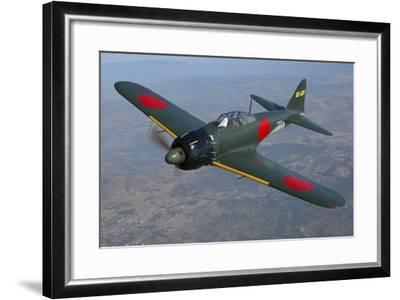 A6M Japaneese Zero Flying over Chino, California-Stocktrek Images-Framed Photographic Print