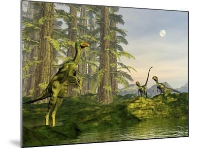A Caudipteryx Watching Dilong Dinosaurs Approaching-Stocktrek Images-Mounted Art Print