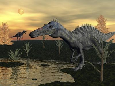 Suchomimus Dinosaurs Walking Next to Pond at Sunset-Stocktrek Images-Stretched Canvas Print