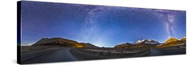 Panorama of the Columbia Icefields and Athabasca Glacier at Moonrise-Stocktrek Images-Stretched Canvas Print