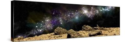 A Colorful Nebula Above a Rocky and Barren Alien World-Stocktrek Images-Stretched Canvas Print