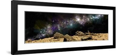 A Colorful Nebula Above a Rocky and Barren Alien World-Stocktrek Images-Framed Art Print
