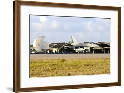Chilean Air Force F-16A Landing with Parachute Brake at Natal Air Force Base-Stocktrek Images-Framed Photographic Print