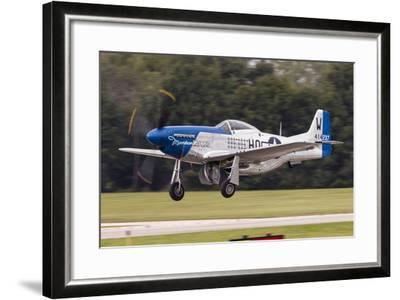 A P-51 Mustang Takes Off from Waukegan, Illinois-Stocktrek Images-Framed Photographic Print