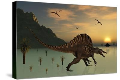A Pair of Spinosaurus Hunting for Fish-Stocktrek Images-Stretched Canvas Print