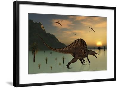 A Pair of Spinosaurus Hunting for Fish-Stocktrek Images-Framed Art Print