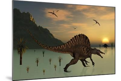 A Pair of Spinosaurus Hunting for Fish-Stocktrek Images-Mounted Art Print