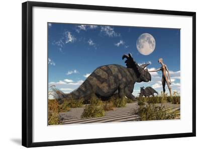 A Reptoid Using Telepathy to Communicate with a Albertaceratops Dinosaur-Stocktrek Images-Framed Art Print
