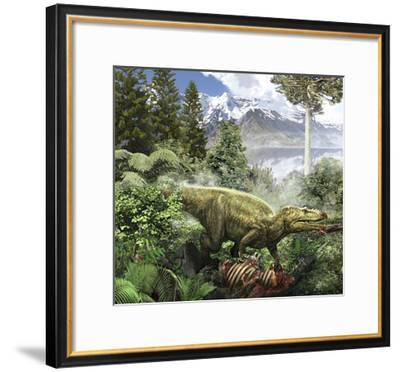 Alioramus Feediing on the Carcass of a Dead Animal-Stocktrek Images-Framed Art Print