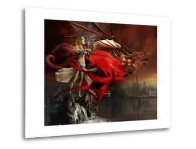 Woman Playing a Magical Violin to Call Out a Red Dragon-Stocktrek Images-Metal Print