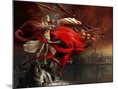 Woman Playing a Magical Violin to Call Out a Red Dragon-Stocktrek Images-Mounted Art Print