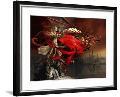 Woman Playing a Magical Violin to Call Out a Red Dragon-Stocktrek Images-Framed Art Print