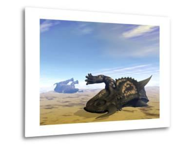 Two Einiosaurus Dinosaurs Dead in the Desert Because of Lack of Water-Stocktrek Images-Metal Print