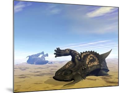 Two Einiosaurus Dinosaurs Dead in the Desert Because of Lack of Water-Stocktrek Images-Mounted Art Print