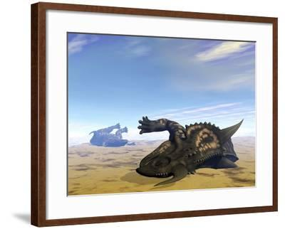 Two Einiosaurus Dinosaurs Dead in the Desert Because of Lack of Water-Stocktrek Images-Framed Art Print