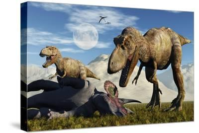 A Pair of Tyrannosaurus Rex Dinosaurs Ready to Make a Meal of a Dead Triceratops-Stocktrek Images-Stretched Canvas Print