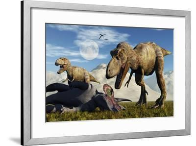 A Pair of Tyrannosaurus Rex Dinosaurs Ready to Make a Meal of a Dead Triceratops-Stocktrek Images-Framed Art Print