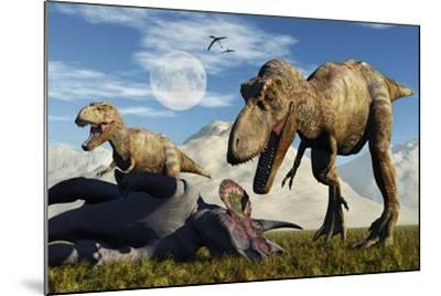 A Pair of Tyrannosaurus Rex Dinosaurs Ready to Make a Meal of a Dead Triceratops-Stocktrek Images-Mounted Art Print