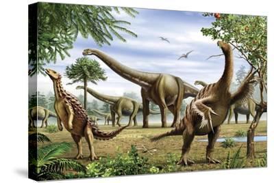 Scelidosaurus, Nothronychus and Argentinosaurus Dinosarus Grazing on Leaves-Stocktrek Images-Stretched Canvas Print