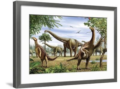 Scelidosaurus, Nothronychus and Argentinosaurus Dinosarus Grazing on Leaves-Stocktrek Images-Framed Art Print