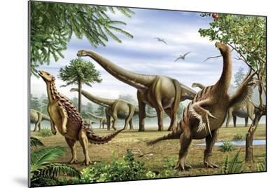 Scelidosaurus, Nothronychus and Argentinosaurus Dinosarus Grazing on Leaves-Stocktrek Images-Mounted Art Print