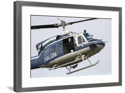 An Agusta Bell 212 of Italy's State Police in Flight over Italy-Stocktrek Images-Framed Photographic Print