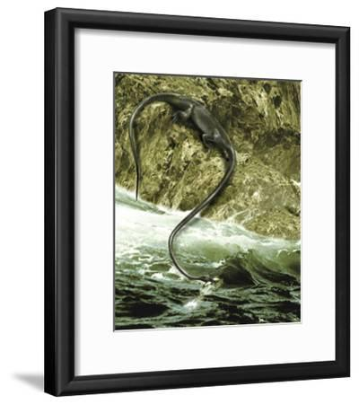The Long Neck of the Tanystropheus Helped to Spear Fish in Waters-Stocktrek Images-Framed Art Print
