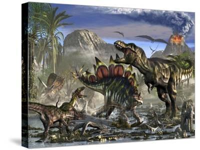 Stegosaurus Defending Himself from T-Rex and Some Utahraptors-Stocktrek Images-Stretched Canvas Print