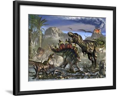 Stegosaurus Defending Himself from T-Rex and Some Utahraptors-Stocktrek Images-Framed Art Print