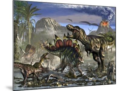 Stegosaurus Defending Himself from T-Rex and Some Utahraptors-Stocktrek Images-Mounted Art Print