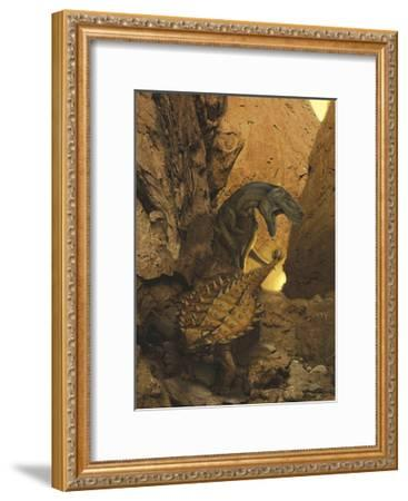 A Tarbosaurus Sneaks Up from Behind on an Armored Talarurus-Stocktrek Images-Framed Art Print
