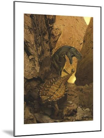 A Tarbosaurus Sneaks Up from Behind on an Armored Talarurus-Stocktrek Images-Mounted Art Print