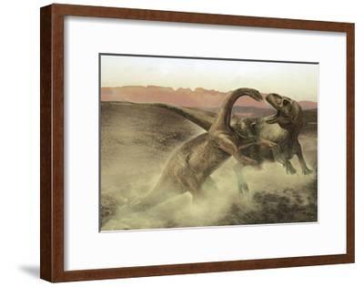 Sinraptor Fighting a Juvenile Bellusaurus-Stocktrek Images-Framed Art Print