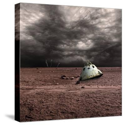 A Scorched Space Capsule Lies Abandoned on a Barren World-Stocktrek Images-Stretched Canvas Print