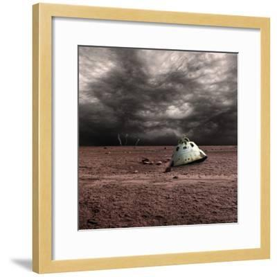 A Scorched Space Capsule Lies Abandoned on a Barren World-Stocktrek Images-Framed Photographic Print